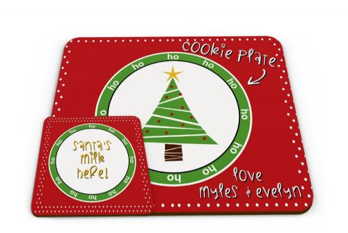 Personalised Kids Christmas Cookie Mat Novelty Glossy Mug Coaster & Placemat